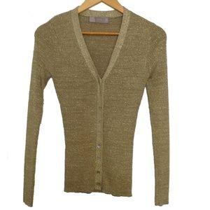 Zara Gold Shiny V-neck Knit Cardigan, size S